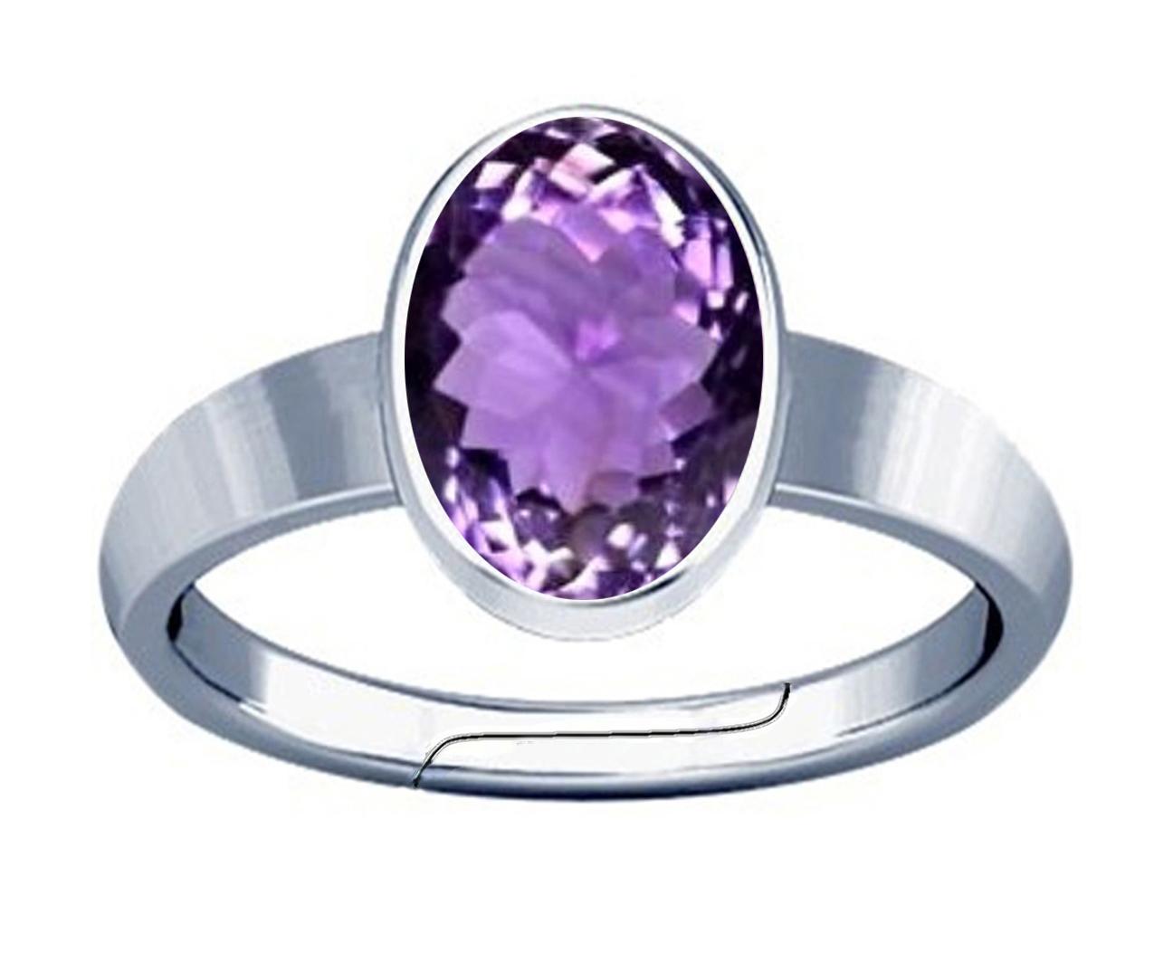 amethyst silver adj plain ring